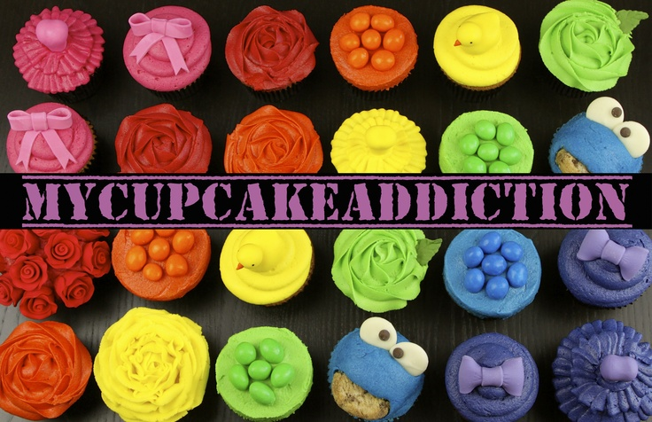 A rainbow of beautifully coloured cupcakes!   All these FREE cupcake decorating tutorials and more on the MyCupcakeAddiction YouTube channel  http://www.youtube.com/user/MyCupcakeaddiction