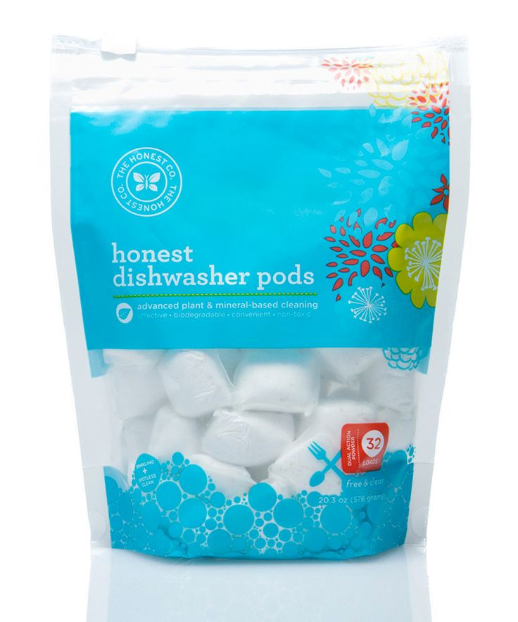 The Honest Company - Dishwasher Pods Free & Clear. Plant-based, septic-safe. Available from www.honest.com (Easy shipping to Canada) #unscented #scentfree #fragrancefree #vegan