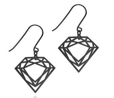 Black Classic Diamond Earrings silver with Rhodium plate #silver #contemporary #unique #London  #designer #jewellery  #NudeJewellery