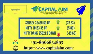#Capital_Aim Opening Bell 20 Sep 17 #SENSEX 32439.60 UP (37.23) #NIFTY 10153.35 UP (5.80) #NIFTY BANK 25021.9 DOWN (-19.65) Give us a miss call on number 📲 +91-8966834895 https://www.capitalaim.com/ #CommodityTips #StockTips #BestStockAdvisoryinIndore #NiftyTips #IntradayTips