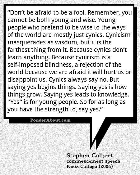 Excerpt of Stephen Colbert's Commencement Speech to Knox College in 2006