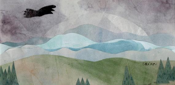 Landscape  original paper collage by ConstructiveLaziness on Etsy, €30.00