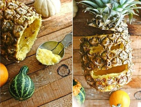 How to Carve a Pineapple Jack-O-Lantern: http://www.completely-coastal.com/2014/10/jack-o-lantern-pineapple-carving-for-Halloween.html