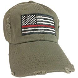 Thin Red Line American Flag Hat cap Olive Green Support firefighters Firefighter Gift