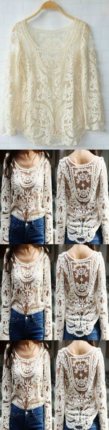 Embroidery Floral Lace Crochet Tee Top! Click The Image To Buy It Now or Tag Someone You Want To Buy This For. #Crochet