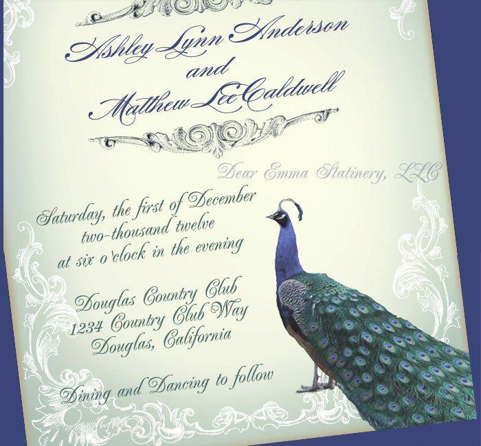 Great Gatsby Peacock Wedding Invitation   Romantic Vintage Wedding   Sample  Only