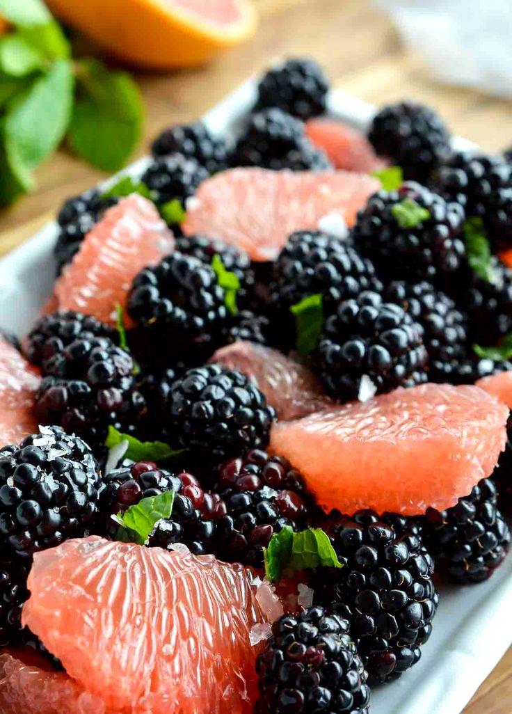 Pink and Black Fruit Salad  INGREDIENTS 2 red grapefruits - peeled and segmented  18 oz fresh blackberries  2 mint leaves - sliced thin  pinch flaked sea salt  5 oz vanilla greek yogurt