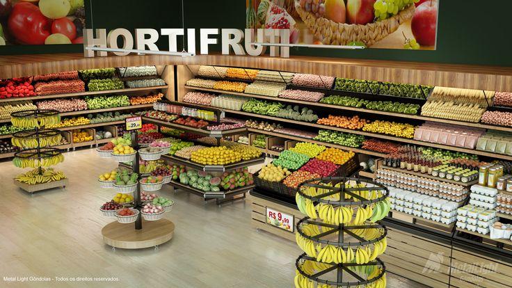 Gôndolas, Bancas e Vascas para supermercados e hipermercados / expositores para hortifruti / frutas e verduras / expositores em aço e madeira.