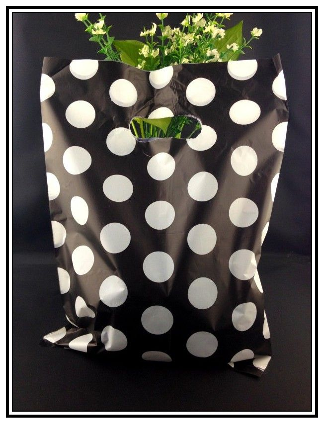 50pcs/lot White Round Dots Black Plastic Gift Bag 25x35cm Boutique Jewelry Packaging Bag Big Plastic Shopping Bags With Handle #Affiliate