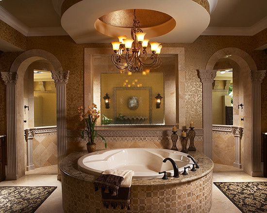 Walk through shower tub and great ceiling master bath for Walk in tub bathroom designs