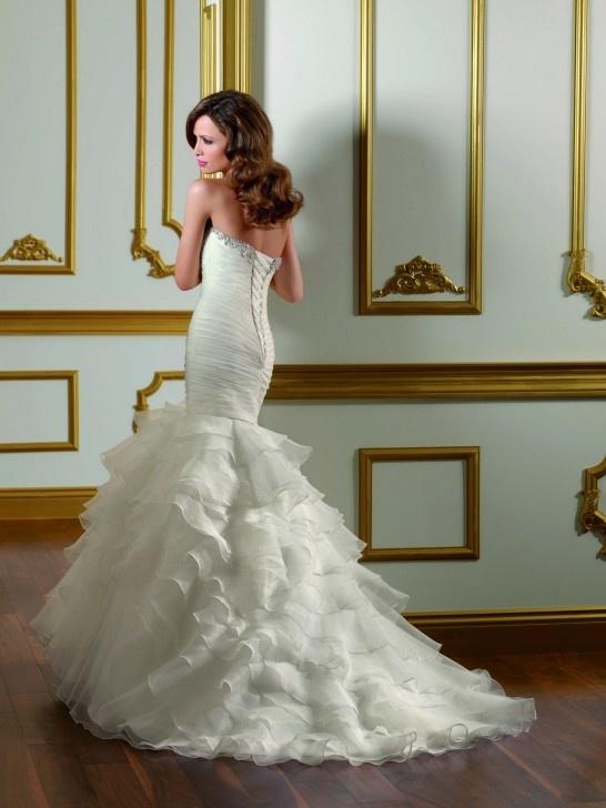 Fishtail Wedding Dress With Ruffles : Strapless mermaid wedding dress with ruffle layered