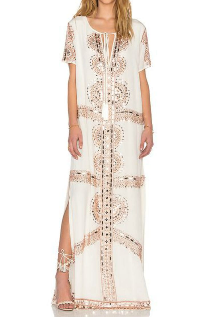 Caftan in White & Rose Gold | Tessora