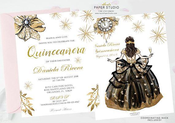 Quinceanera Invite, Elegant Invitation, Princess Invite, Glamour Invitation, Ball Gown Invitation, 16 Birthday, Gold Black Invite, BDQ001
