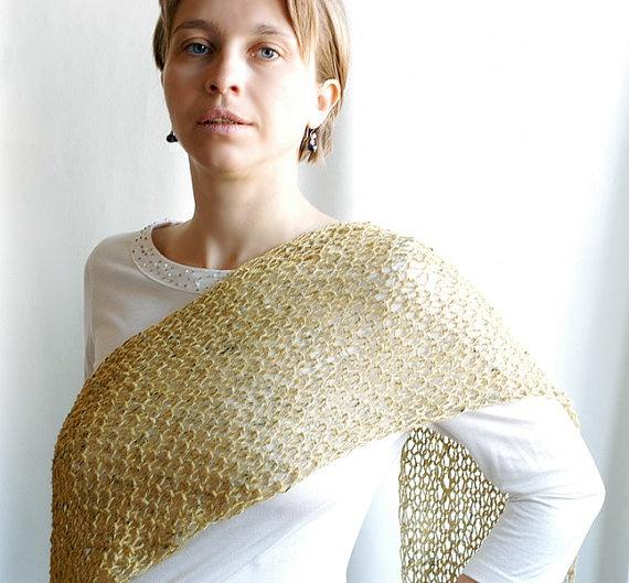 Mustard hand knit cobweb scarf neckwarmer tweed by CityCrochet, $50.00