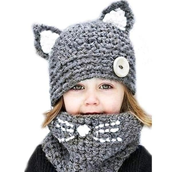 Childrens Winter Hat Knitted Hood Scarf Beanie Handmade Hat for Boys Girls Cute