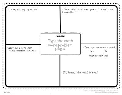 Primary Inspired: The Importance of Asking Questions ~ Building Mathematical Comprehension~~ PROBLEM SOLVING GRAPHIC ORGANIZER