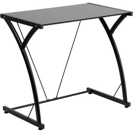 Flash Furniture Contemporary Tempered Glass Computer Desk with Matching Frame, Black