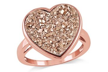 Rose Gold Drusy Heart Ring