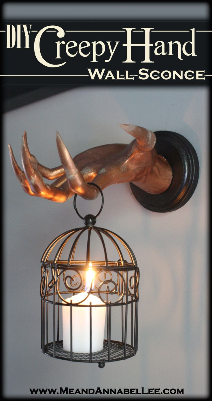 Diy creepy hand wall sconce halloween decoration me and