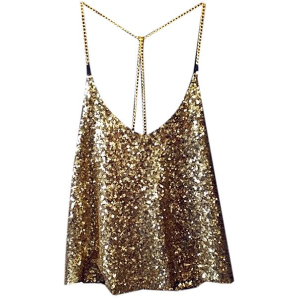 CLARE Sequins Cami Top (€58) ❤ liked on Polyvore featuring tops, camisole tank top, brown top, brown cami top, cami tank and sequined top