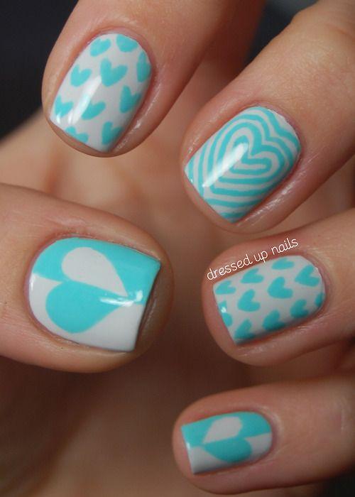 #Nails Blue Hearts