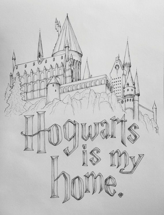 Harry Potter rocks my world! Hogwarts is my home.  12x18 Hogwarts Castle Art Print on Etsy, $20.00