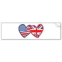 American Flag/Union Jack Flag Hearts Bumper Stickers