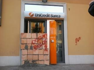 "Bologna City (Italy), front of an UnicreditBank office, made by the ""Occupy"" movement promoted by AnonymousMovement Promotion, Cities Italy, Bologna Cities, Unicreditbank Offices"