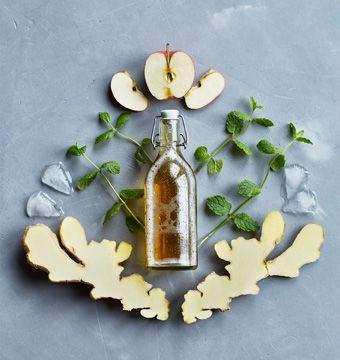 Virgin Moscow Mule, biere au gingembre jus pomme et menthe