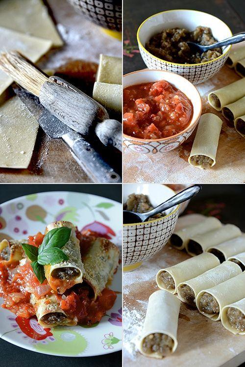 Cannelloni au caviar d'aubergine