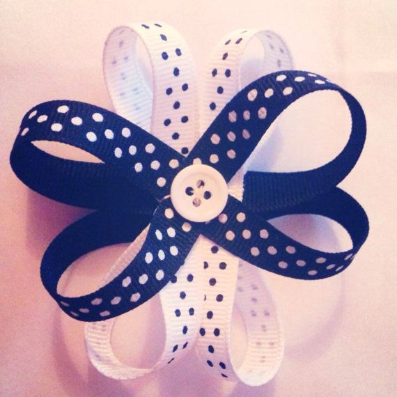 Black and white flower bow hair bobble. by Burrellios on Etsy