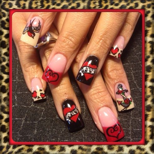 76 best nail art valentines images on pinterest enamels nail sailor jerry valentine by oli123 from nail art gallery prinsesfo Images