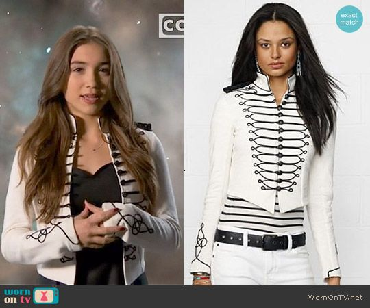 Riley's white jacket with black embroidery on Girl Meets World.  Outfit Details: http://wornontv.net/48921/ #GirlMeetsWorld  Buy it at Macys: http://wornon.tv/28666