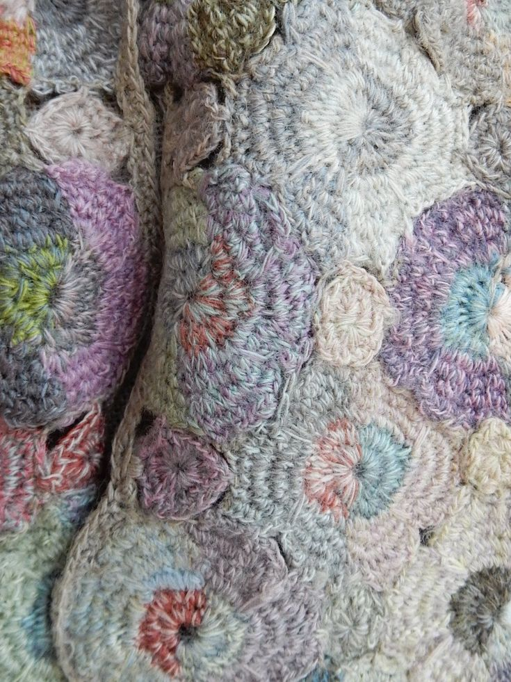Hand crocheted scarf in earthy pastels,merino wool. From Sophie Digard.  12 x 52 inches.