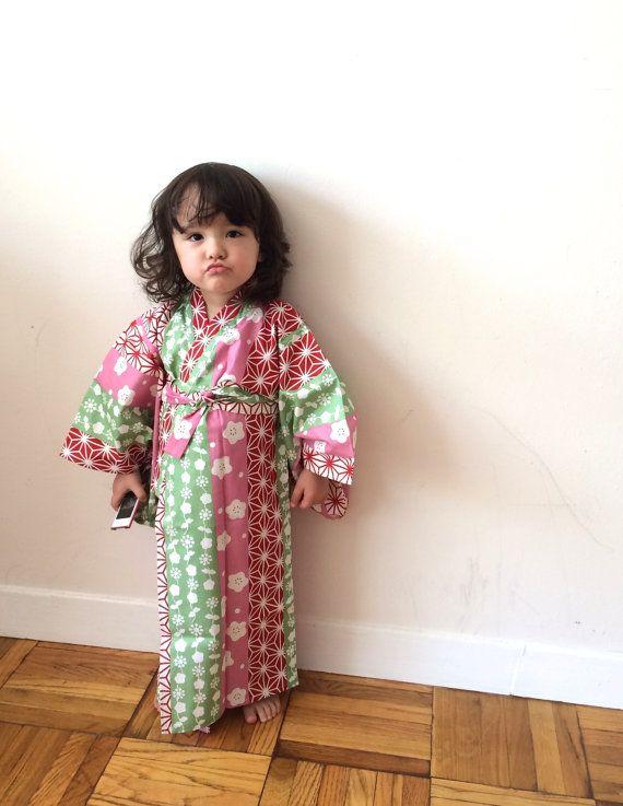 Girl's Kimono Yukata  Pink Sashiko Sakura by hukuhook on Etsy