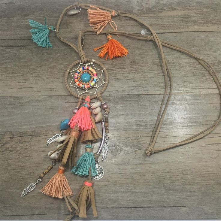 Cheap statement necklace, Buy Quality pendant necklace directly from China dream catcher pendant Suppliers: 2017 New Bohemian jewelry Dream catcher pendant necklace caki tassel feather metal leaf charm statement Necklace