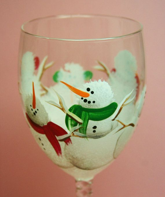 Hand Painted Wine Glass - Winter Snowmen -  Personalized and Custom Wine Glasses for , Birthday, Wedding, Party, Special Occasions