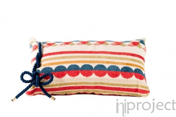 Carnival Stripes & Dots with Blue Bow Cushion