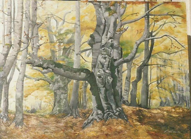 il bosco si veste con i colori d'autunno...olio su tela