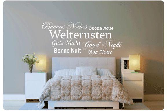 Welterusten, in 7 verschillende talen, een mooie muursticker voor boven het bed. Bestel hem nu: http://www.muurteksten.nl/contents/nl/p914_Muurtekst_Welterusten_7_Talen.html
