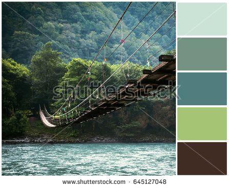 Pallete of colors. The bridge across the river. Harmonious combination of colors. Color mixing.