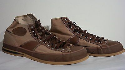 Pf Flyer's Men's Brown Canvas Leather High Top Basketball Shoe Size 11