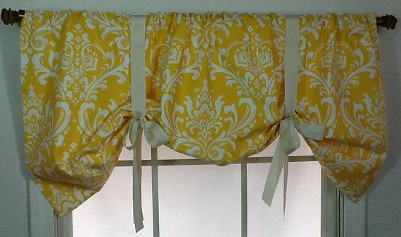 Damask tie up valance in brown, gold, navy, grey or black or pink on Etsy, $49.99