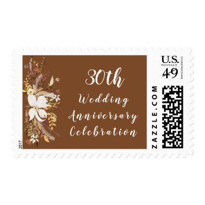 Anniversary Celebration Stamp - Soft Rustic - floral style flower flowers stylish diy personalize