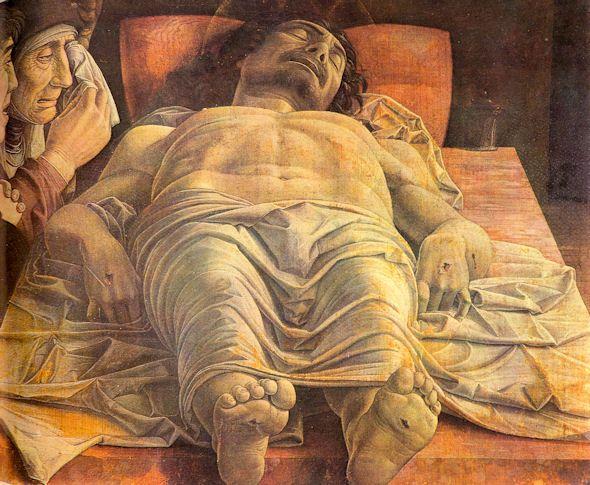 Mantegna, Lamentation sur le Christ mort, Années 1480, Tempera à la colle sur toile, Dimensions : 68 x 81 cm, Pinacothèque de Brera (Milan, Italie)