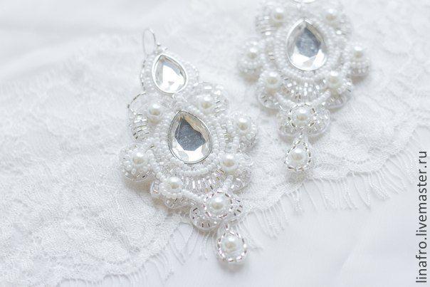 Купить Сережки кружевные сверкающие - свадьба, невеста, серьги, украшения, свадебные, расшитые, жемчужные, Сваровски