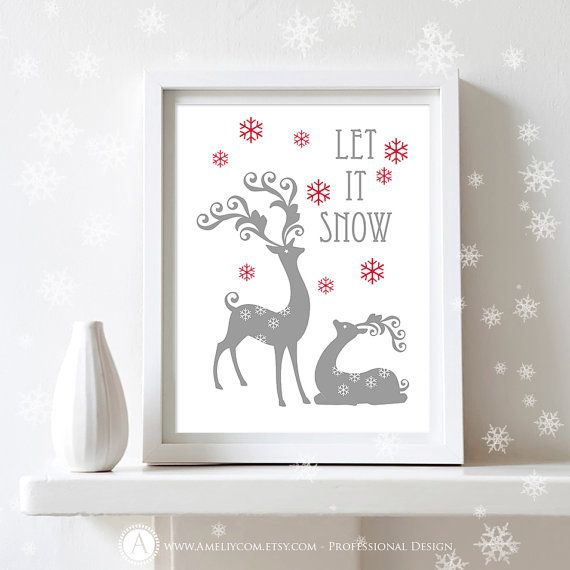 """Printable Christmas Decor Print Poster  Let it Snow by AmeliyCom, $5.00 NSTANT DOWNLOAD Printable Christmas Decor Poster Print - """"Let it Snow"""" Art Print Christmas Decoration - DIY Wall Decor for Holiday Decoration. Christmas Gift  ---------- Christmas Gift Idea! ----------  You can print, then put it in a frame and make the perfect Christmas Gift for your loved ones, family, coworkers or friends!  Just print, cut and ready to go!"""