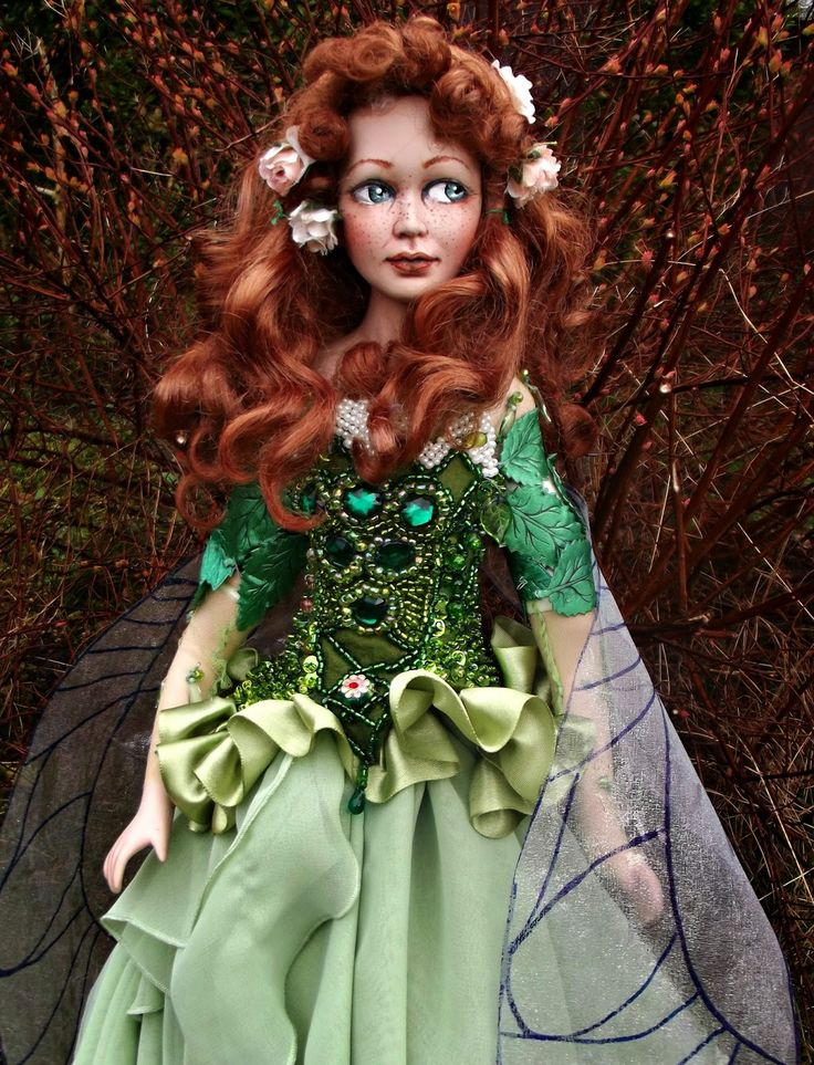 Deidre the Spring Fairy, one of a kind doll from SK Art Dolls