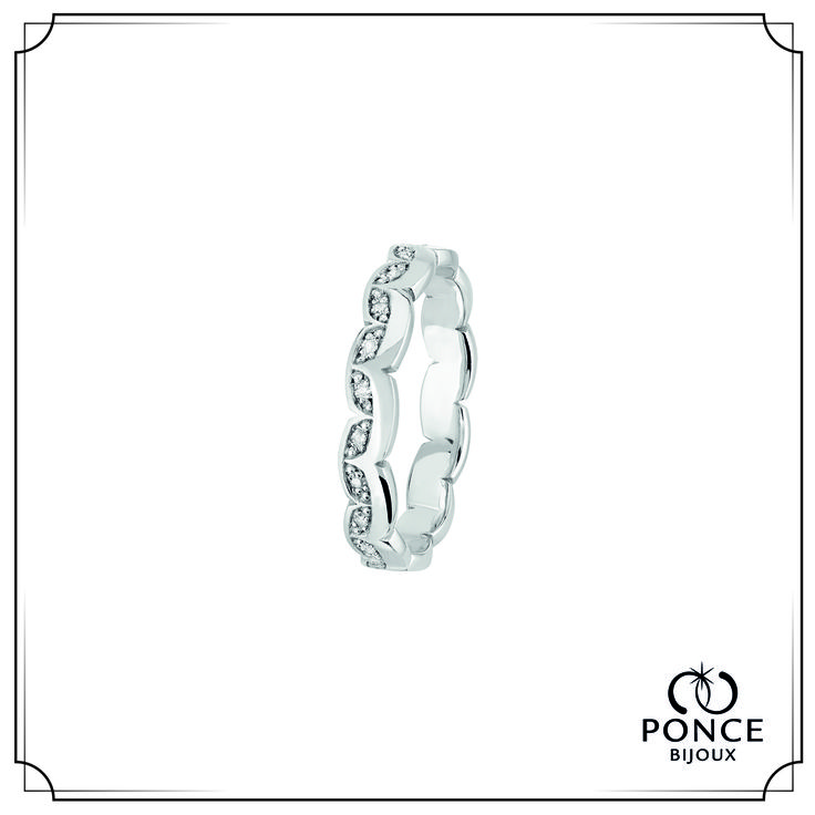 Bijoux Ponce TOGETHER HITA FOREVER Alliance diamant, Alliance femme, alliance Platine, Modèle tour complet, pavage diamants 22 x 0,005 ct H-SI  Poids total 0,11 ct #BijouxPonce #Paris #MadeInFrance #Love #mariage #alliance #platine