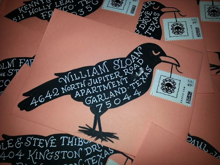 DIY Halloween envelopes, Hand lettering, Calligraphy, black crow drawing, Hand painted envelope, Hand addressed envelope, calligraphy on envelopes, Halloween, Halloween party invitation, hand lettered fonts, best selling fonts, fonts for invitations, wedding fonts, most popular fonts